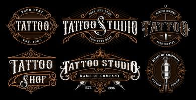 Set Vintage Tattoo Embleme (VERSION FOR DARK BACKGROUND)