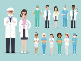 Groep artsen en verpleegsters en medisch personeel.