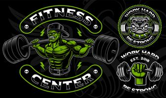 Set of vector badges, logos, shirt designs for the gym.