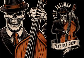 Vector illustration of skeleton with double bass