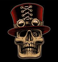 Vector illustration of skull in hat and eyeglasses in steampunk style