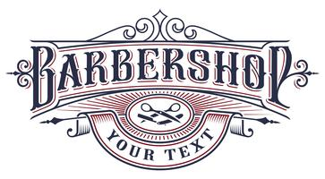 Projeto do logotipo do barbeiro no fundo branco.