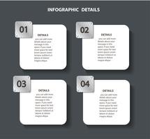 Plantilla gráfica de la información de la placa de metal con 4 opciones. Puede ser utilizado para la web, diagrama, gráfico, presentación, gráfico, informe, infografía paso a paso