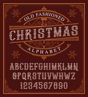 Vintage christmas alphabet on the dark background. vector