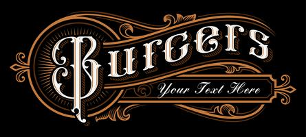 Burgers Lettering design. vector