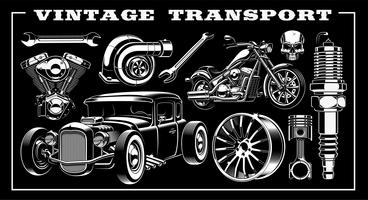 Set of vintage transportation