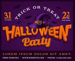 Halloween party poster with pumpkin lettering and hat of witch.