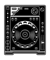DJ CD player illustration on white background.