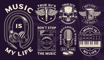 Set of black and white designs of Dj theme. vector