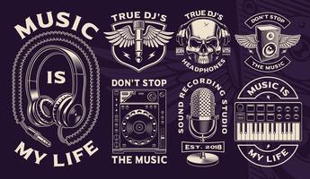 Conjunto de diseños en blanco y negro de tema dj.