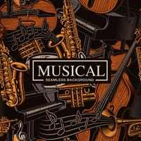 Musical seamless background with different musical instruments
