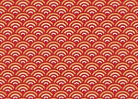 Chinese seamless pattern gold and red wave new year background vector