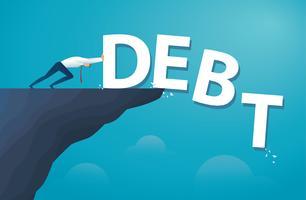 zakenman duwen het woord schuld financiële vrijheid.