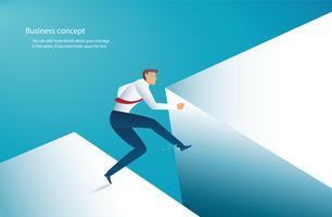 hombre de negocios saltar sobre brecha para el éxito