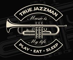 Vector illustration of trumpet on the dark background.