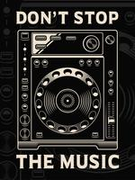Vector illustration of dj player on dark background.