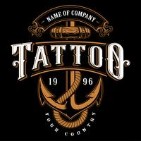 Ilustración de letras de tatuaje con ancla (para fondo oscuro)