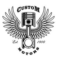 Vintage piston with wings on white background