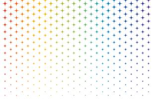Teste padrão abstrato de estrelas de arco-íris de escala no fundo branco - ilustração vetorial