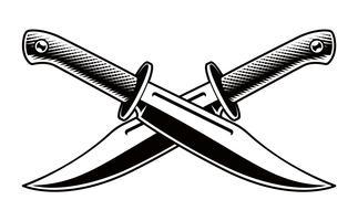 Vektor illustration av korsade knivar på vit bakgrund