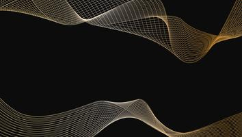 Abstract of shiny gold luxury wave line art design element on black background