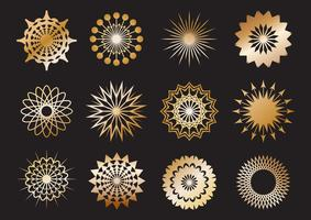 Set of golden geometric shape and design elements