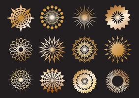 Set med gyllene geometriska form och designelement