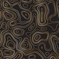 Abstract gold line waves design on black background - Vector Illustration