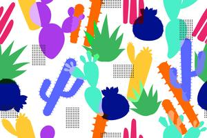 Abstract seamless pattern of colorful cactus background