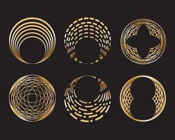 Sats med gyllene geometriska cirkelform och designelement