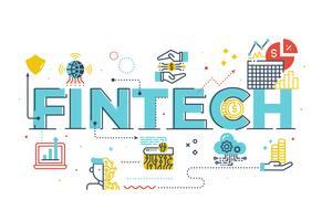 Fintech (Financial Technology) word lettering illustration
