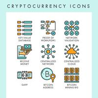 Cryptocurrency icons concept illustrations