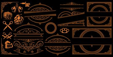 Vintage Borders and Signs on the dark background vector