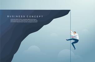 zakenman klom de berg op. bedrijfsconcept van winst en succes