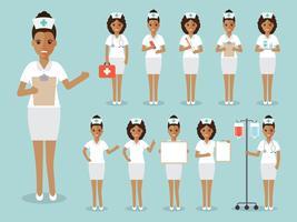 Set av afrikansk sjuksköterska, medicinsk personal.