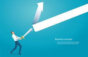 uomo d'affari tenendo la spada per proteggere la freccia verso il basso
