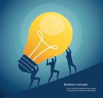 group of people carrying light bulb. concept of creative thinking