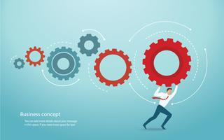 businessman holding gears and space for write. concept of innovation vector