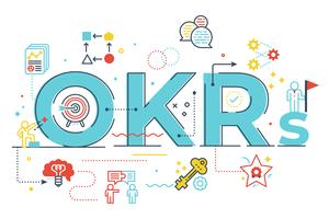 OKRs (Objectives and key results)word lettering illustration