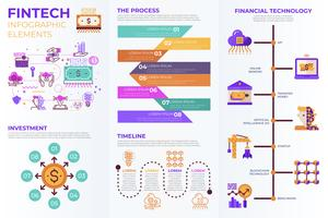 Fintech (Financial Technology) infographic elements