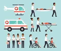 Grupo de médicos, enfermeras, paramédicos y personal médico.