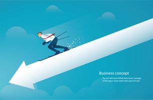 zakenman ski op pijl naar beneden