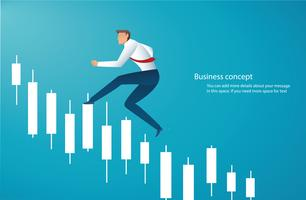 Businessman running with candlestick chart background, concept of stock market,