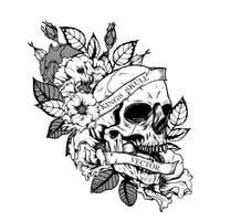 Skull with chrysanthemum tattoo by hand drawing vector