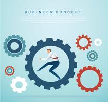 empresário correndo nas engrenagens. conceito de negócios