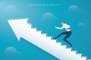 businessman climbing the arrow stairs to success