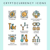 Cryptocurrency icons concept illustrations vector