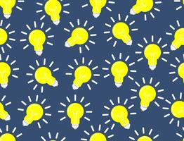 Seamless pattern of light bulb vector on dark blue background