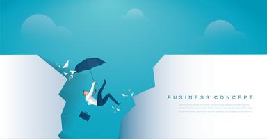 affärsman faller i avgrunden kris konkurs.