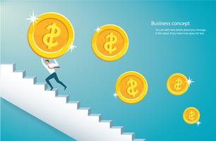 man holding the big gold coin climbing  stairs to success